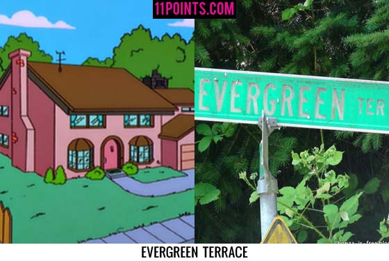 11 real life places with the same name as simpsons places for 742 evergreen terrace real life